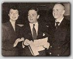 Agnes Moorehead, James Cagney, and John Farrow accepting the New York Film Critics Award.  Farrow for Wake Island.