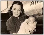 Maureen O'Sullivan and infant Mia Farrow