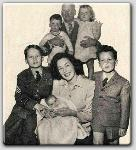 John Farrow, Johnny, Mia, Michael, Maureen (with Prudy on her lap), and Patirck