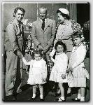 Alan Ladd, John Farrow, Maureen O'Sullivan, and in front (l-r) are Steffi, Prudy, and Mia