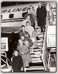 The Farrows on their way to Spain for the filming of John Paul Jones (1958)