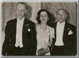 John Farrow, Maureen O'Sullivan, and Jack Warner of Warner Bros. Studios