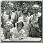 Maureen O'Sullivan and John Farrow at a luncheon