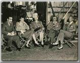 Lester Cowan, Ros Russell, Hedda Hopper, Alexander Hall, and John Farrow on the set of--My Sister Eileen