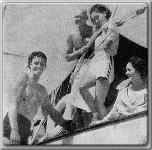 Johnny Weissmuller, John Farrow and fiance Maureen O'Sullivan, Benita Hume: Yacht trip to Catalina