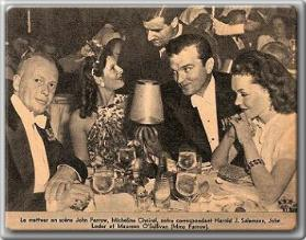 John Farrow (far l), Maureen O'Sullivan (far r), dining with friends
