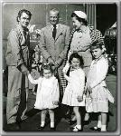 Alan Ladd, John Farrow, Maureen O'Sullivan; Steffi Farrow, Prudy Farrow, and Mia Farrow in Front  (l-r)