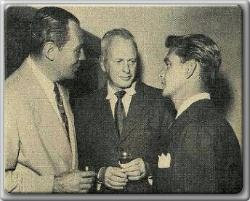 Stag line, stag talk:  Bill Howard, John Farrow, Alan Ladd held post mortem on weekend golf tournament (1951)